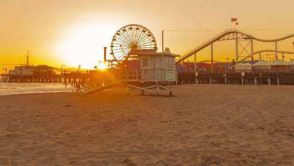 Hyperlapse view on sunset at Santa Monica beach pier, California. Royalty-free stock video