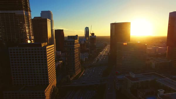 Aerial shot of downtown Los Angeles at sunset Royalty-free stock video