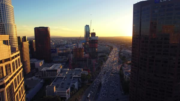 Aerial shot of traffic in downtown Los Angeles at sunset Royalty-free stock video