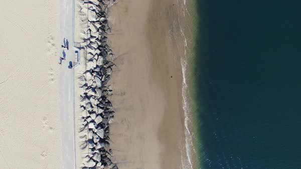 Aerial shot of a promenade in Venice Beach, Los Angeles Royalty-free stock video