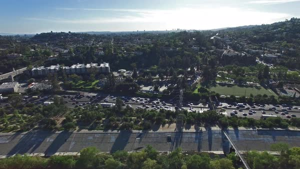 Wide shot of traffic on a highway in Los Angeles Royalty-free stock video