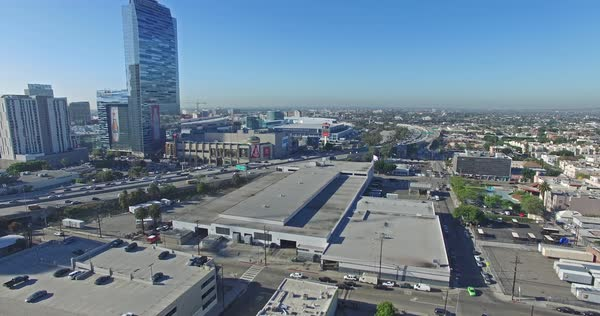Aerial shot of traffic in Downtown Los Angeles Royalty-free stock video