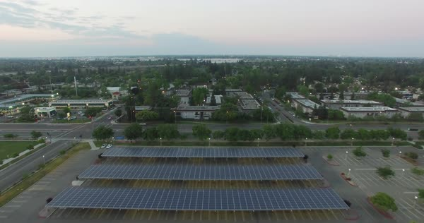 Aerial shot of solar panels in a city Royalty-free stock video