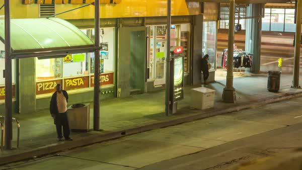 Timelapse of people at a bus station in Los Angeles, California, USA Royalty-free stock video