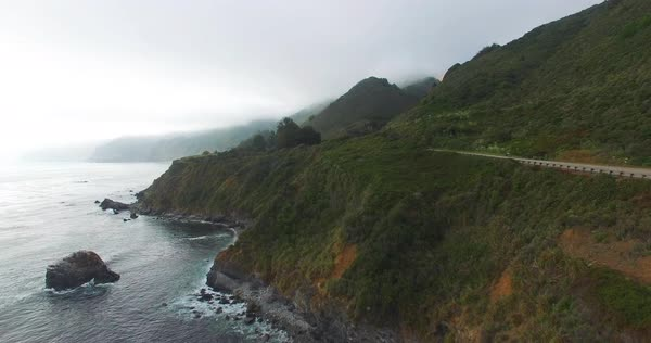 Aerial shot of a road at Big Sur, California, USA Royalty-free stock video