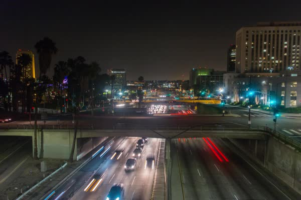 Timelapse of traffic on a road at night in LA, California, USA Royalty-free stock video