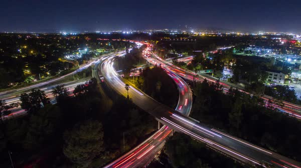 Aerial view of highway junction at night Royalty-free stock video