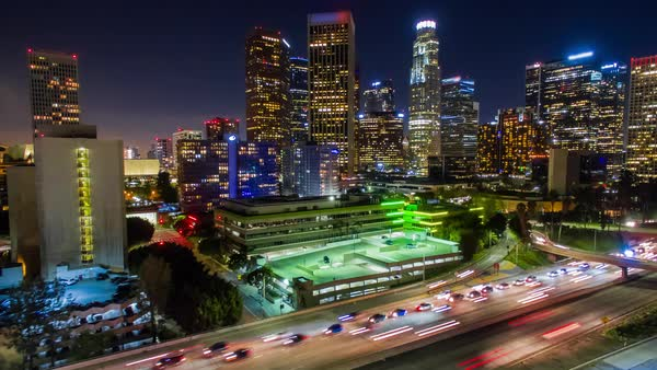 Hyperlapse of traffic in Los Angeles Royalty-free stock video