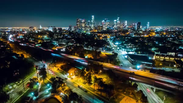 Drone shot of Los Angeles cityscape Royalty-free stock video