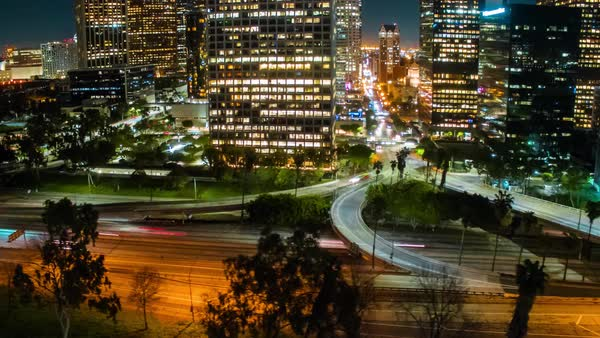 Hyperlapse of traffic in Downtown Los Angeles Royalty-free stock video