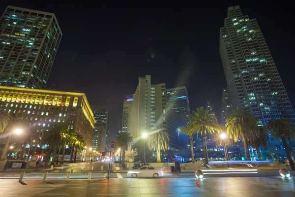 Hyperlapse video view on San Francisco Downtown at night. Royalty-free stock video