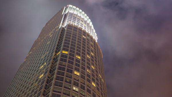 DOWNTOWN, LOS ANGELES, CALIFORNIA, USA - 07 MARCH 2014, Hyperlapse (timelapse in motion) on skyscrapers at night. Royalty-free stock video
