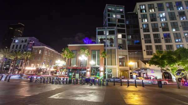 Hyperlapse of illuminated buildings at night in San Diego Royalty-free stock video