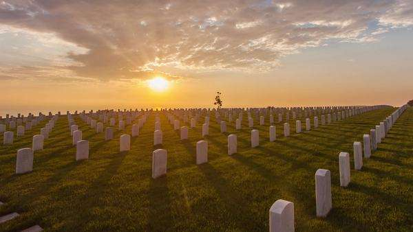 Hyperlapse of the Fort Rosecrans National Cemetery at sunset in San Diego, USA Rights-managed stock video