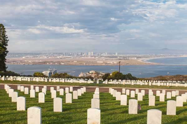 Hyperlapse of the Fort Rosecrans National Cemetery in San Diego, USA Rights-managed stock video