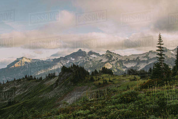 Picturesque landscape in front of mountain range Royalty-free stock photo