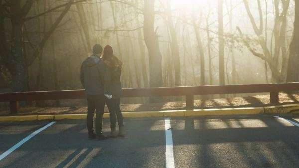 A couple looks out into the foggy woods as sun shines through trees Royalty-free stock video
