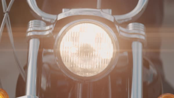 Close-up on motorcycle headlight Royalty-free stock video