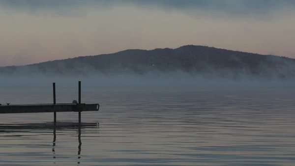 Dock on foggy lake Royalty-free stock video