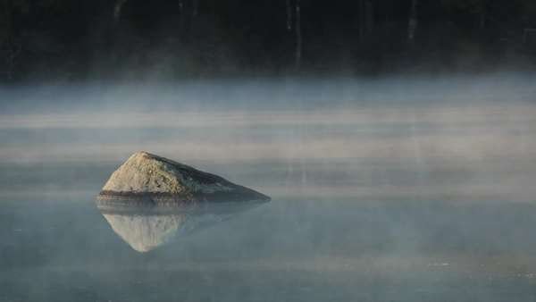 Foggy lake reflection with single rock during morning light Royalty-free stock video