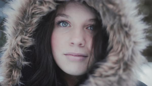 Close-up shot of a woman wearing a hooded jacket Royalty-free stock video