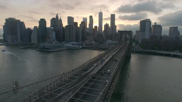 Evening sunset aerial view of Brooklyn bridge Royalty-free stock video
