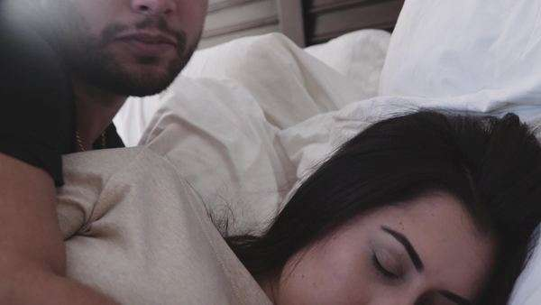 Close-up of beautiful couple waking up Royalty-free stock video