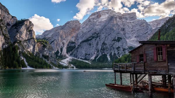 A autumn view at sunset of the Braies Lake in Alta Pusteria, Italian Alps Royalty-free stock video