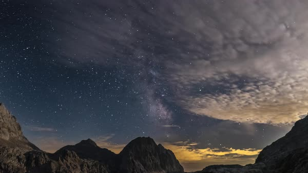 Timelapse of Milky way passing over mountains Royalty-free stock video