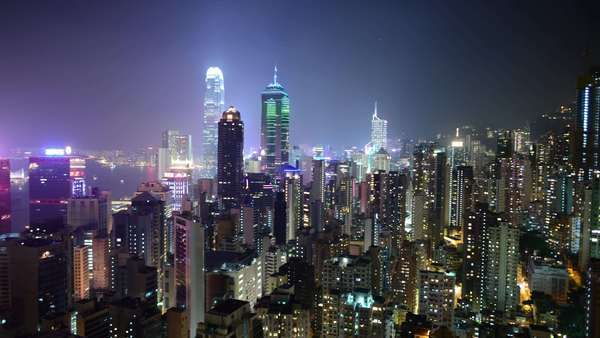 Timelapse Pan of Hong Kong Skyline at Night - Hong Kong China Royalty-free stock video