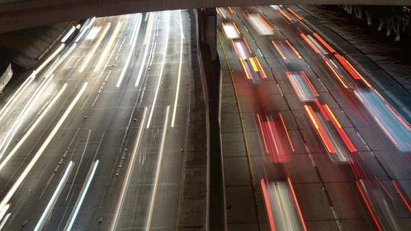 Timelapse Pan - Overhead View of Traffic on Busy 10 Freeway in Downtown Los Angeles California Royalty-free stock video