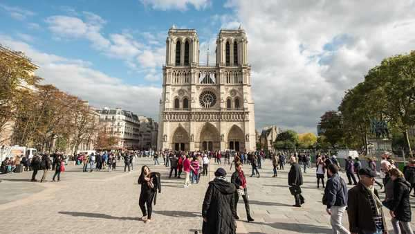 Timelapse of Notre Dame Cathedral in Paris France daytime Royalty-free stock video