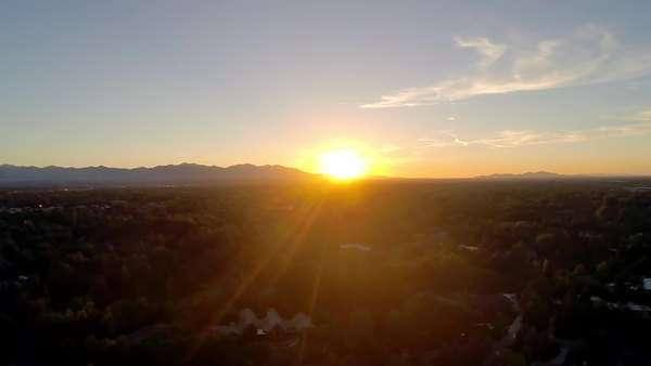 Drone shot of picturesque sunset over salt lake city Royalty-free stock video