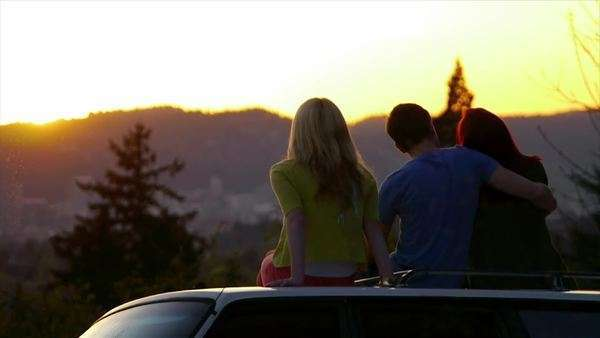 3 Teens Sit On Car And Watch The Sunset Together Royalty-free stock video