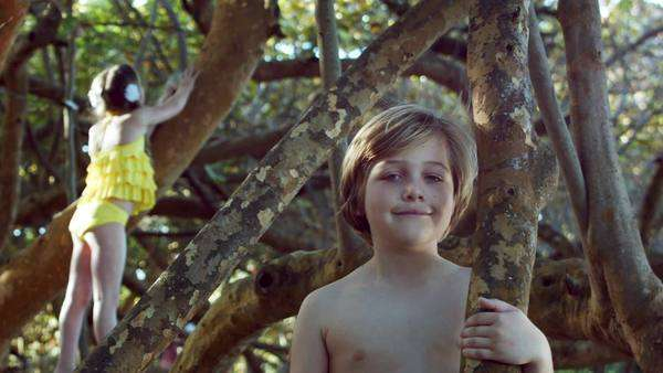 Little Boy Smiles At Camera While His Sister Plays In A Tree In The Background Royalty-free stock video
