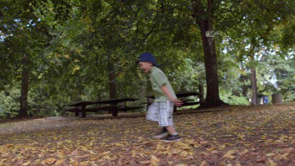 Adorable little boy plays in park, throws leaves in the air, runs away Royalty-free stock video