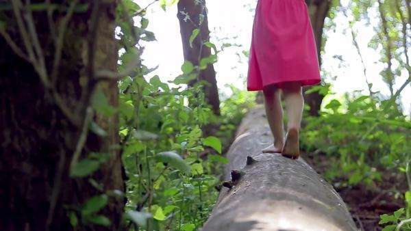 Little girl walks, then runs, down a log, away from camera, slow motion Royalty-free stock video