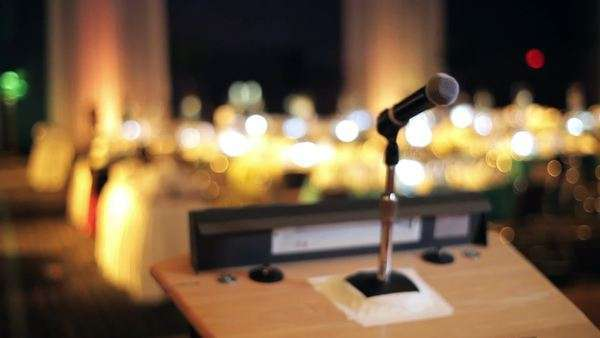 Microphone on a stand in a empty room Royalty-free stock video