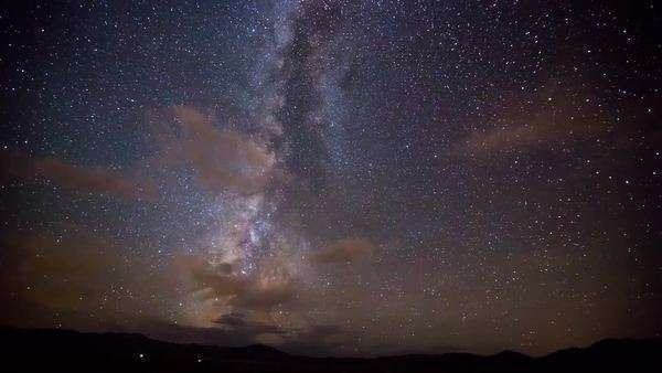 Amazing Milky way timelapse with clouds that move and satellites that zoom by... Royalty-free stock video