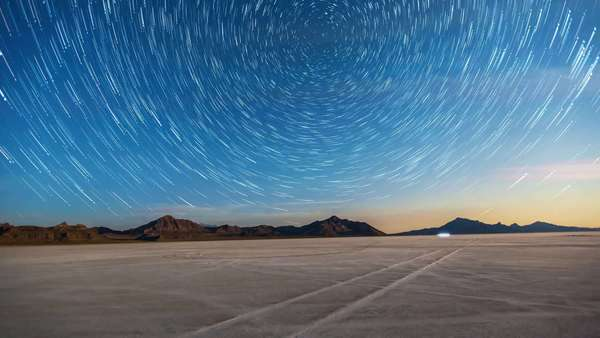Amazing star trails timelapse out on the Great Salt Lake Salt Flats in west desert of Utah where the land speed records have been set. Royalty-free stock video