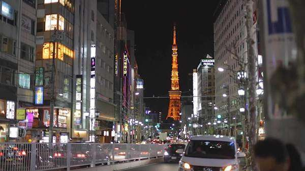Evening from Roppongi - Tokyo Tower Royalty-free stock video