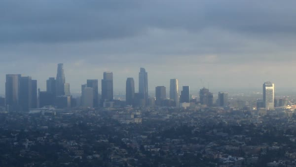 Los Angeles dark clouds and sun rays timelapse Royalty-free stock video