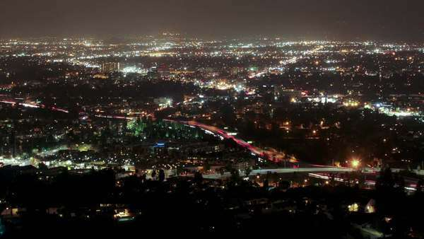 4k Timelapse clip high above the 101 freeway in Los Angeles at night Royalty-free stock video
