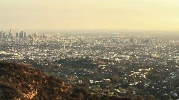 Timelapse shot at dusk from the iconic Hollywood Sign Royalty-free stock video