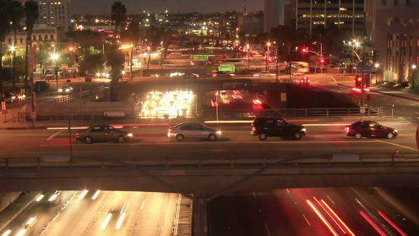 Bridge & Freeway Traffic at night in Los Angeles Royalty-free stock video