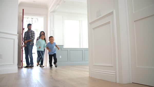 Slow motion shot of family moving into new home Royalty-free stock video