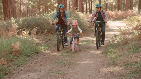 Male couple cycling with daughter in forest, front view Royalty-free stock video