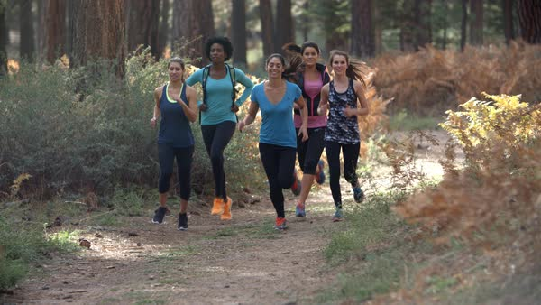 Group of young adult women running in a forest, slow motion Royalty-free stock video