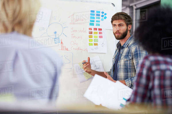Manager leading creative brainstorming meeting in office Royalty-free stock photo