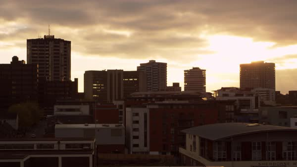 Birmingham city skyline at sunset Royalty-free stock video